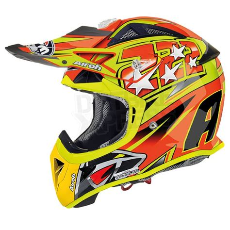 Helm Kyt Cross Verboden Black Orange 2013 airoh aviator 222 cairoli replica fluorescent 2013