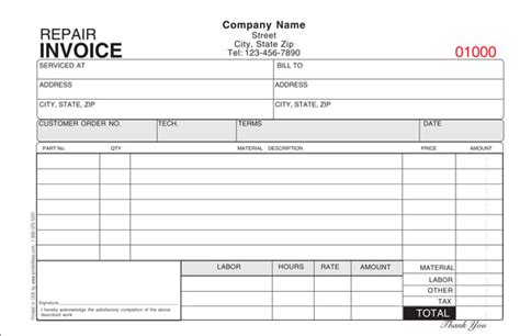 free printable service receipt template repair invoice template invitation template