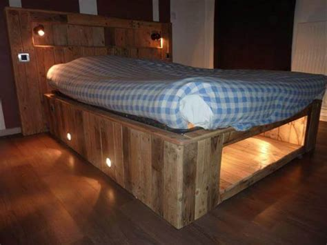 wood pallet bed frame with lights pallet headboard with lights