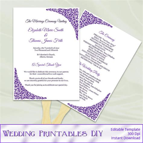 diy wedding program fans template best photos of wedding fan programs template free