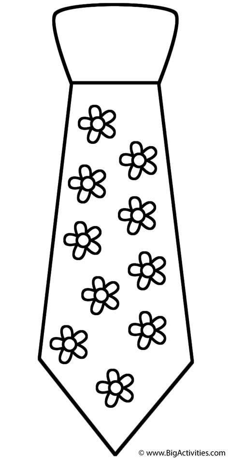 Neck Tie With Flowers Coloring Page Clothing Tie Coloring Page