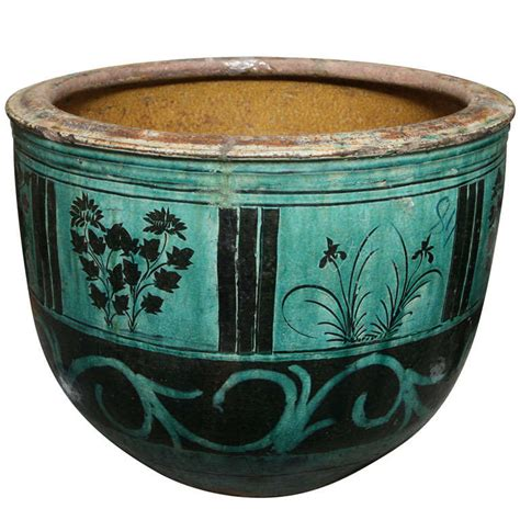 Large Ceramic Garden Planters by Large Hunan Turquoise Glazed Antique Ceramic Planter At