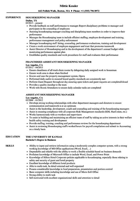 housekeeping supervisor resume housekeeping sample resumes
