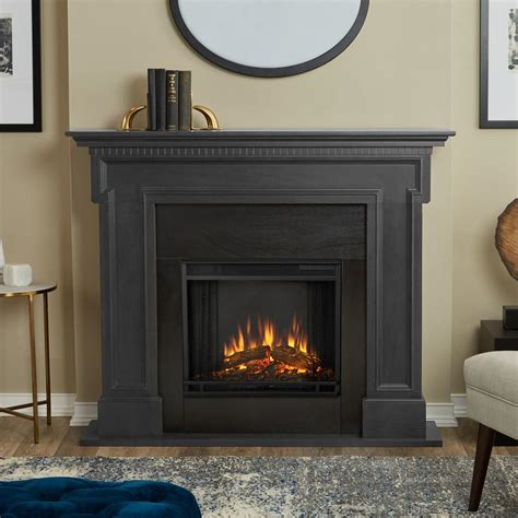 gray fireplace real thayer 54 in electric fireplace in gray 5010e