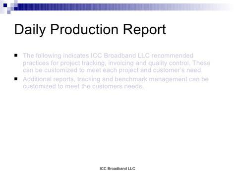 daily production report sle icc broadband presintation