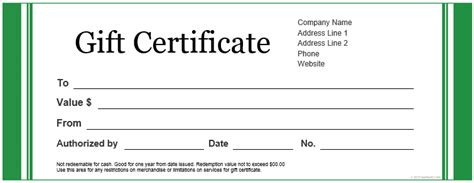 pdf gift certificate template printable basic green gift certificate template for word pdf