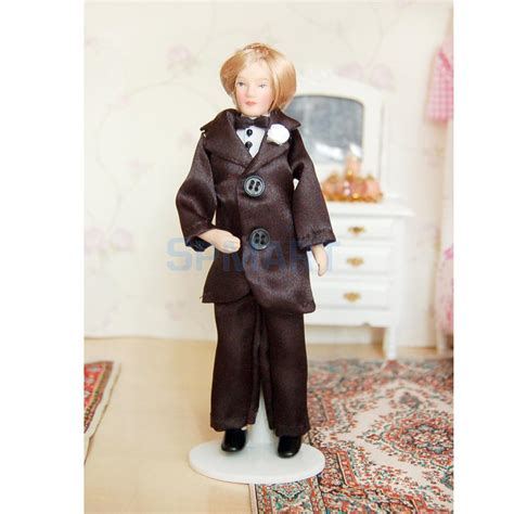 dollhouse with black dolls dollhouse miniature porcelain doll groom in black suit in