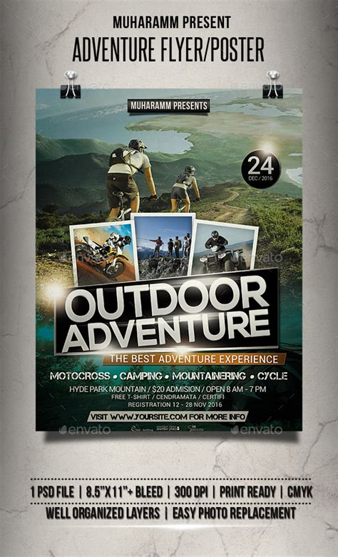 Adventure Flyer Poster By Muharamm Graphicriver Outdoor Flyer Template
