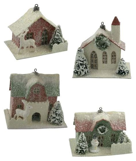 traditional paper house ornaments putz houses paper