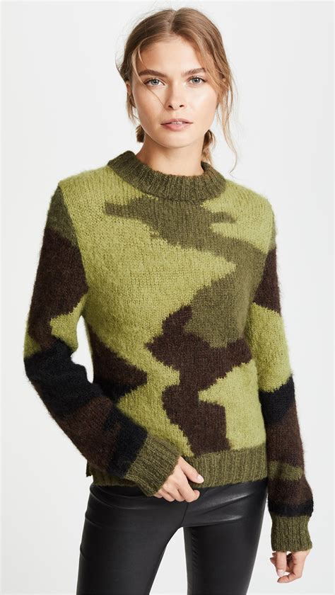 camo knit sweater lyst smythe knit camo intarsia sweater in green
