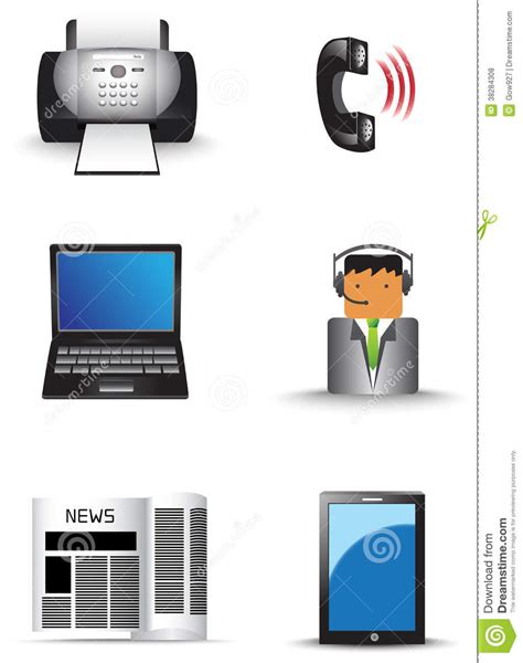 office information technology supply icon set vec royalty