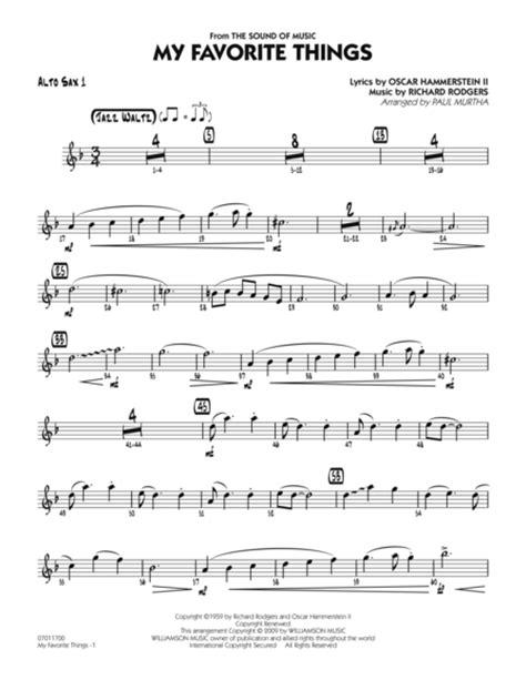 Favorite Alto my favorite things alto sax 1 sheet by