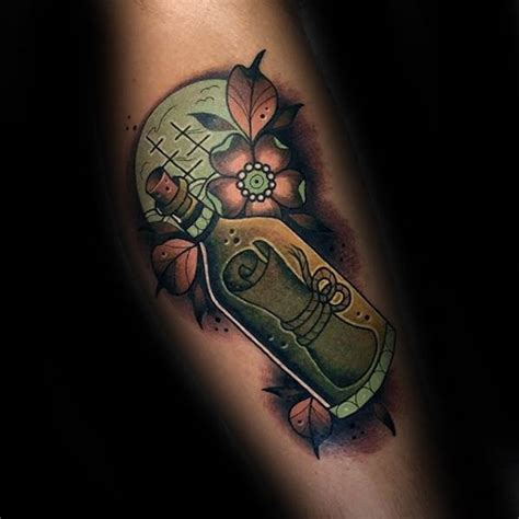 new school bottle tattoo 40 message in a bottle tattoo designs for men manly ink