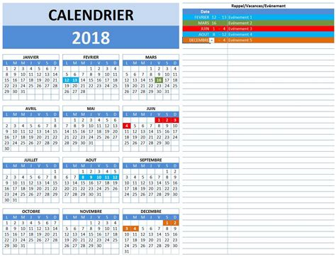 calendrier 2018 excel