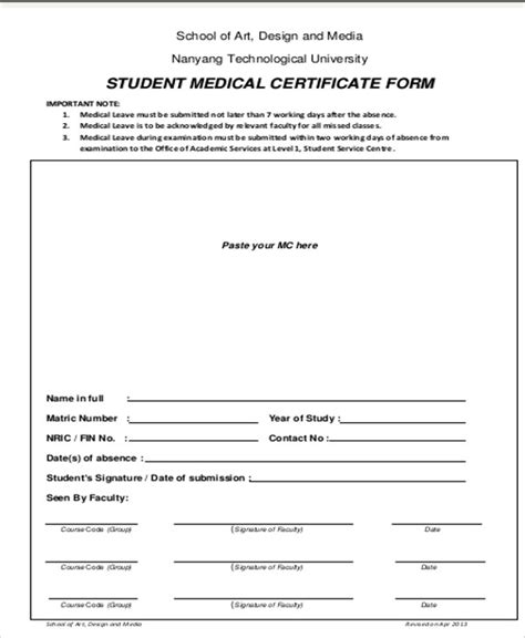 medical certificate for sick leave format templates fillable