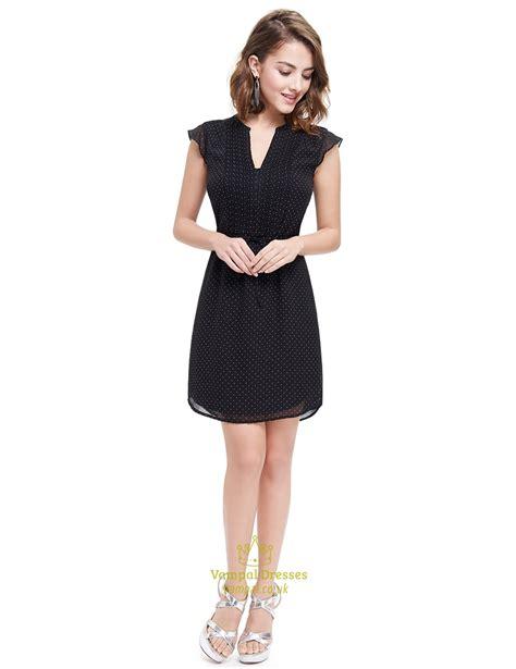 V Neck Shirt Dress black v neck polka dot summer shirt dress for