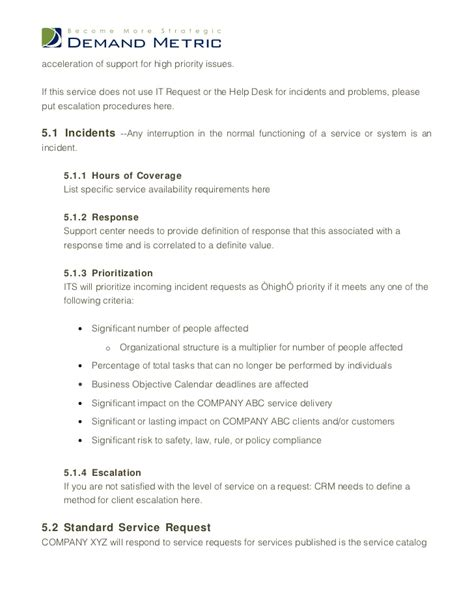 it support service level agreement template image gallery it support agreement