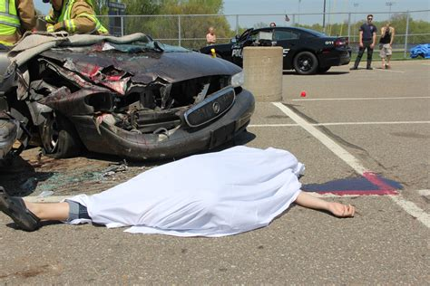 a gory scene at st francis high s mock car crash