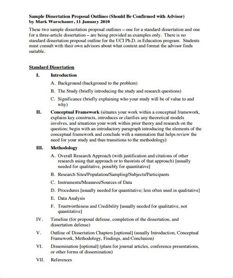 dissertation plan template outline templates 15 free sle exle