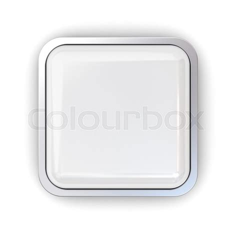kaos 3d square white blank 3d square button with chrome metal frame isolated