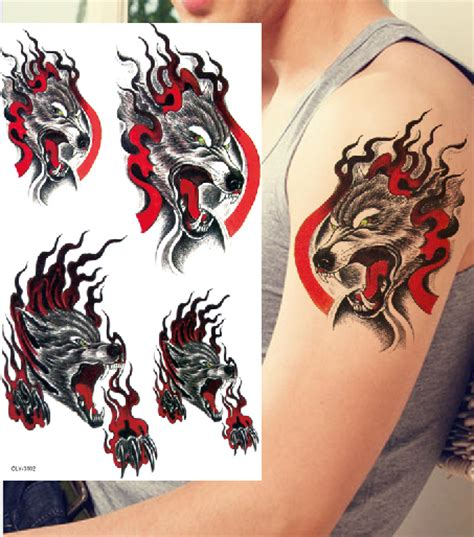 bloody wolf tattoo flash aterproof blood wolf totem arm chest arm