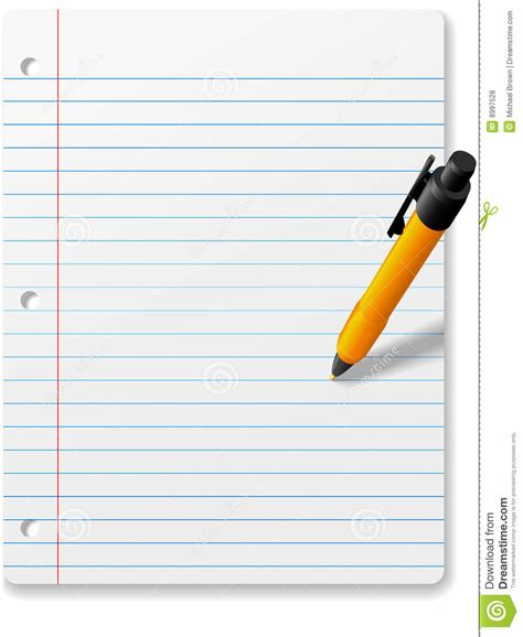 Pen Paper Joyko Trigonal Clip No 1 pen writing drawing on notebook paper background stock vector image 8997528