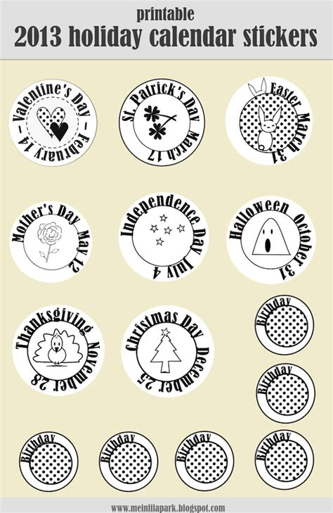 printable calendar holiday stickers free printable 2013 calendar holiday stickers tip junkie