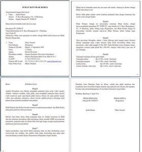 contoh surat kontrak kerjasama andin