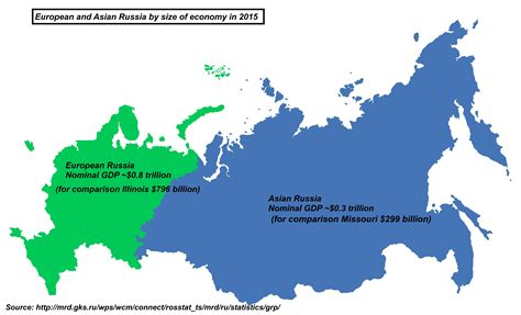 russia map size european and asian russia by size of economy in 2015