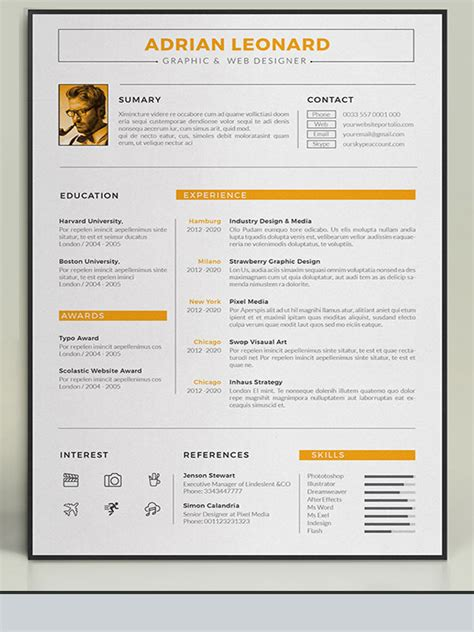 20 awesome resume cv templates mow design graphic awesome