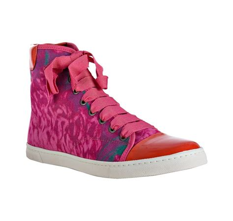 Lanvin Canvas Printed Sneakers lanvin pink floral canvas cap toe high top sneakers in