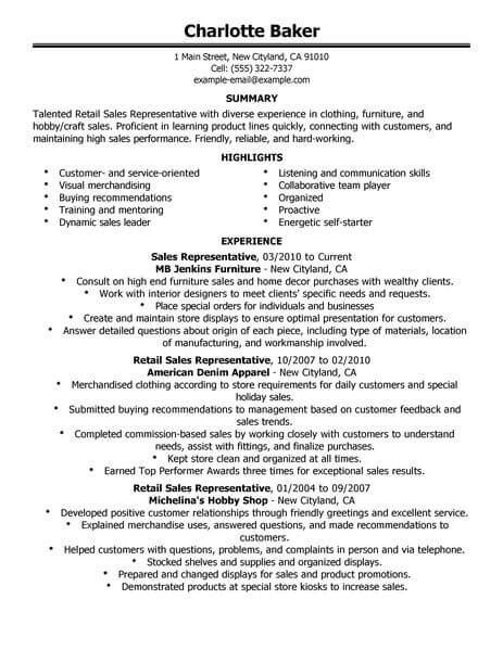 resume sles for customer service and sales best rep retail sales resume exle livecareer