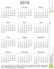 Calendar 2018 Usa Calendar 2018 For Usa Week Starts On Sunday Stock Vector