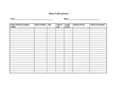 40 Printable Call Log Templates In Microsoft Word And Excel Free Call Log Template