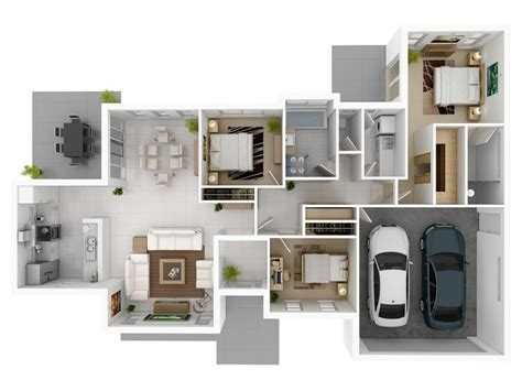 3 bedroom with large garage house plans   Interior Design