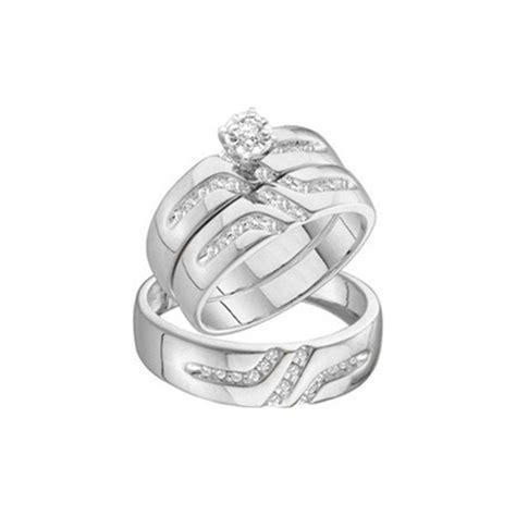 affordable 1 2 carat trio wedding ring set on 18ct white