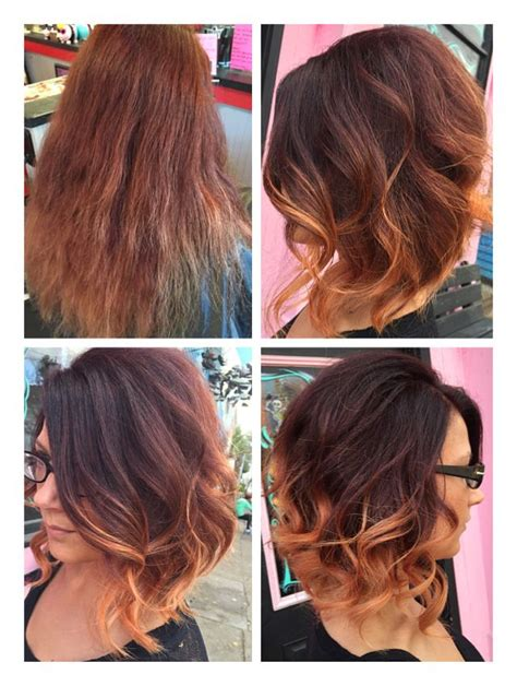 red to blonde ombre bob dark red brown to blonde ombr 233 short bob before after hair