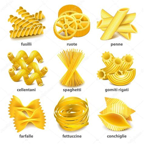 pasta clipart pasta typer ikoner vektor set stock vektor