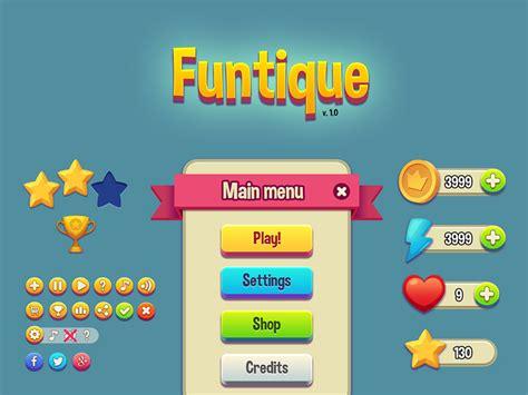 game design resources funtique game ui kit freebie download photoshop resource