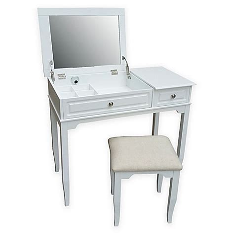 White Vanity Stool For Bathroom Buy Emily Bathroom Vanity Set With Stool In White From Bed Bath Beyond