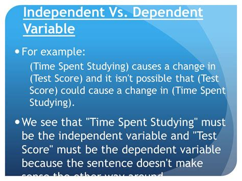 exle of dependent variable independent vs dependent variable ppt