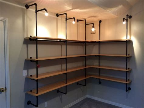 lighted pipe supported shelves industrial design pipes