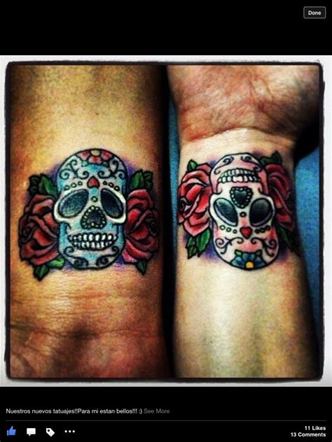 skull tattoos for couples sugar skulls tattoos