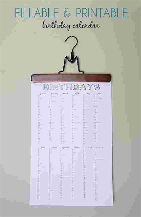make your own birthday calendar free printable birthday calendar 187 curbly diy design