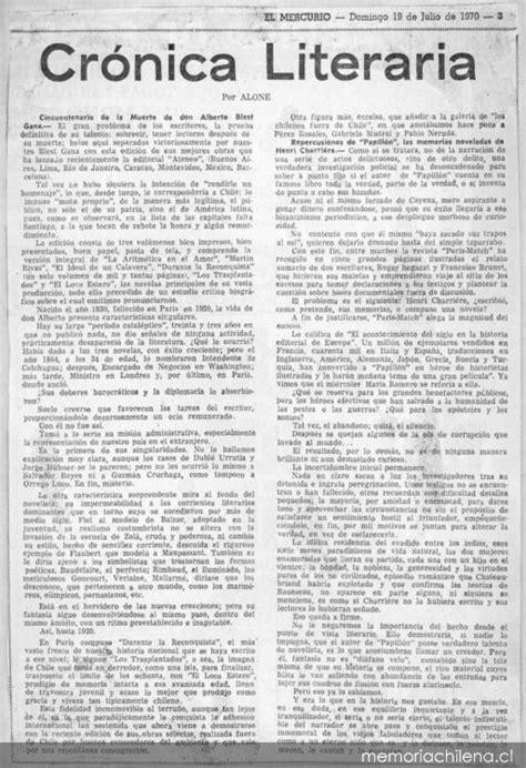 Crónica literaria - Memoria Chilena, Biblioteca Nacional