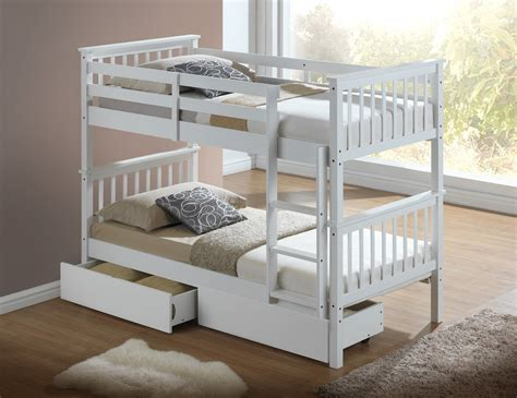 Bunk Beds Contemporary Modern White Childrens Bunk Bed With Drawers