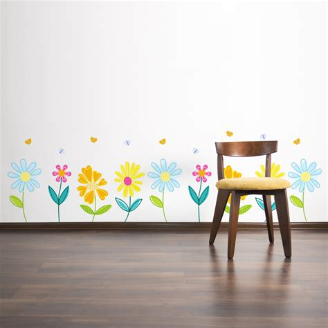pretty wall stickers pretty garden flowers with butterflies printed wall decals stickers graphics