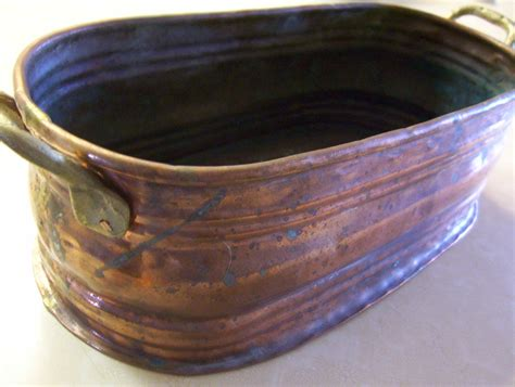 antique copper planter tub turned wood rustic candle