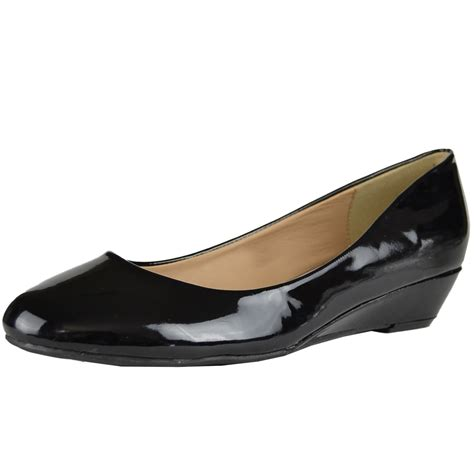 womens slip on dress shoes glossy patent casual low wedge
