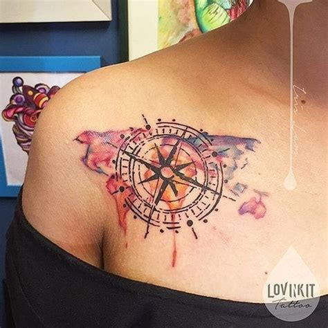 watercolor travel tattoos creative map tattoos for the traveling type